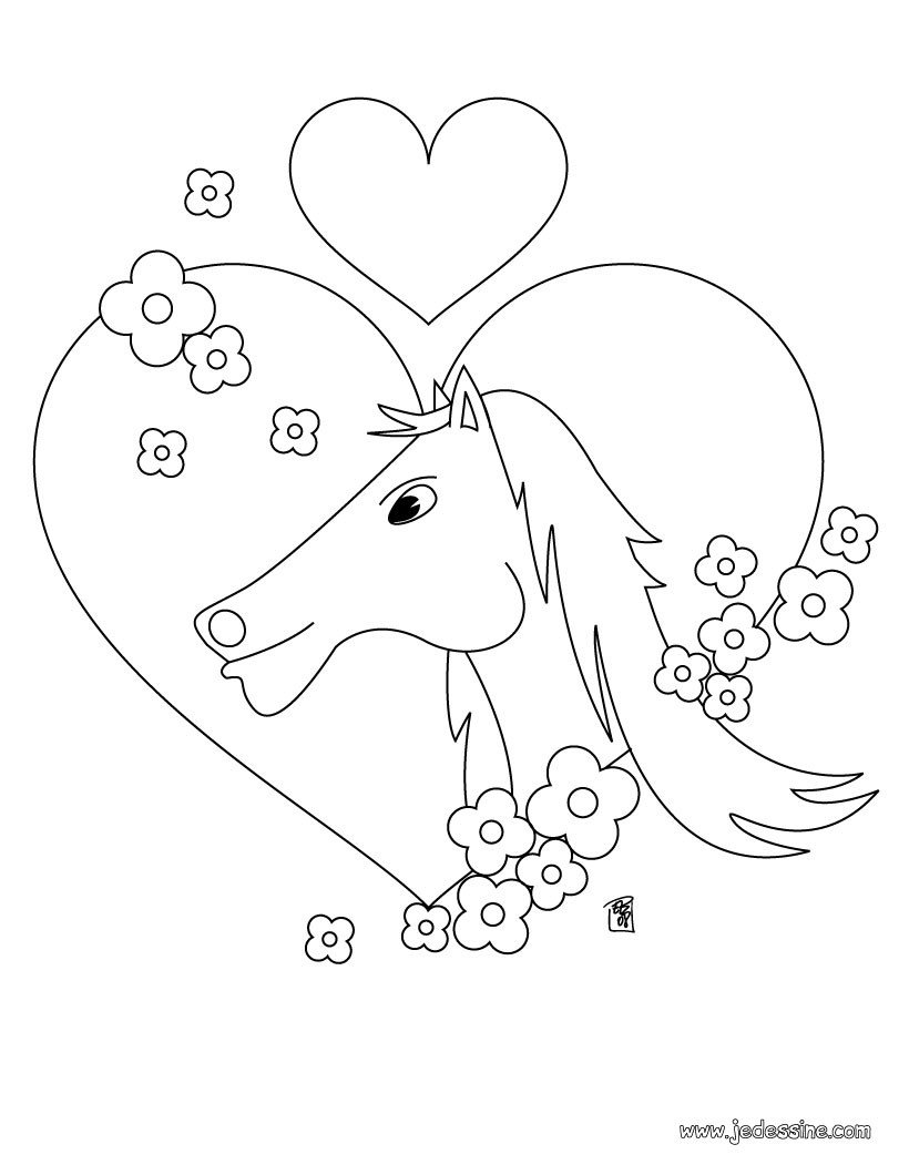 dessin cheval coeur