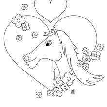 Coloriage : Cheval dans un coeur
