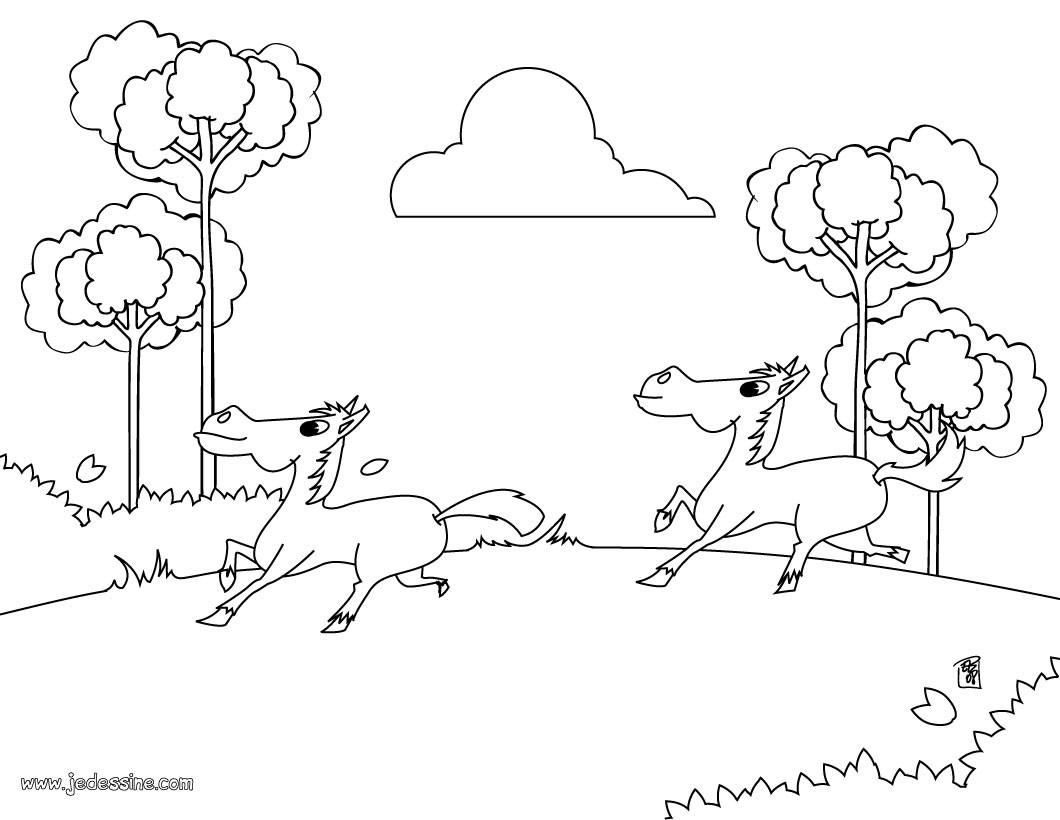 Coloriages chevaux au galop - Coloriage chevaux grand galop ...