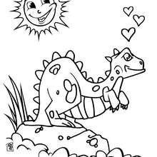 Coloriage : Coloriage d'un dinosaure amoureux