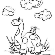 Coloriage : Un dinosaure et un oiseau
