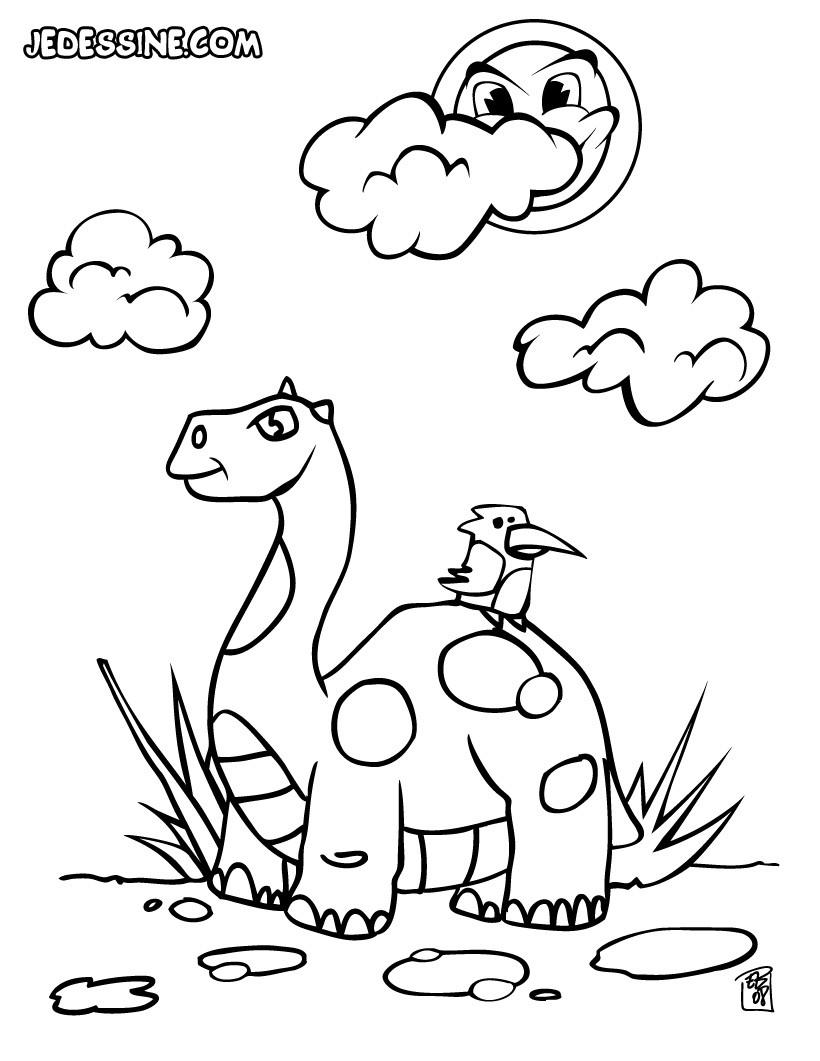 Coloriages un dinosaure et un oiseau - fr.hellokids.com