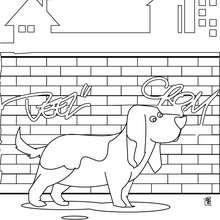 Coloriage de chien : Chien de ville