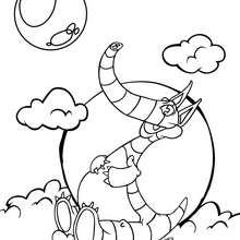 Coloriage : Dinosaure dans les nuages