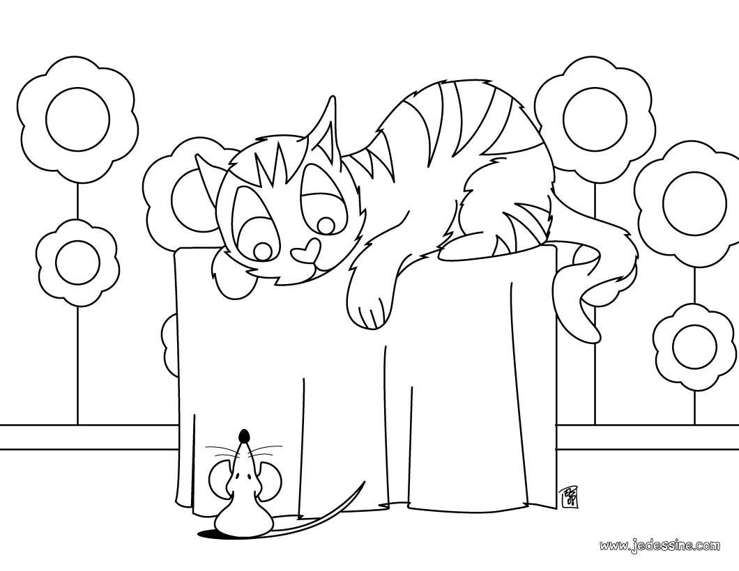 Coloriage Un chat et une souris