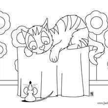 Coloriage : Un chat et une souris