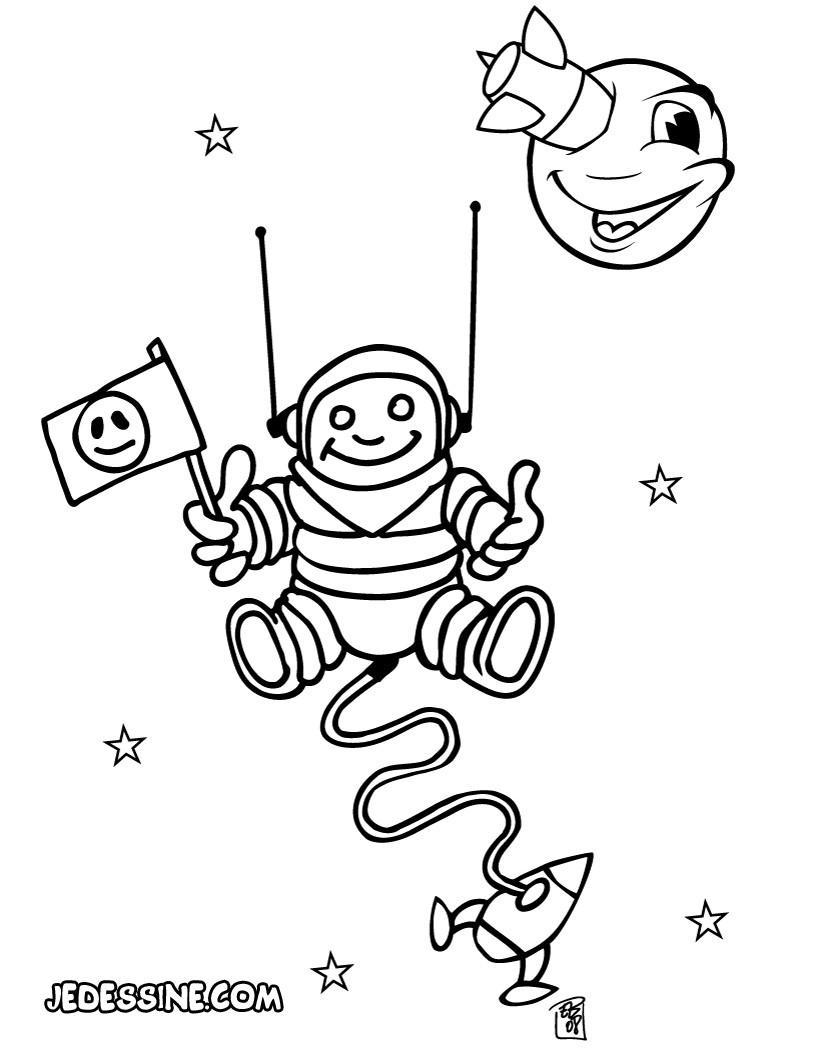 Coloriages coloriage d'un cosmonaute dans l'espace - fr ...