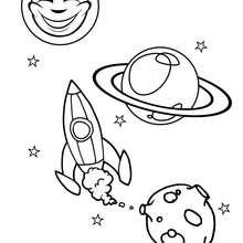 Coloriage d'une fusée dans l'espace
