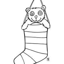 Coloriage : Nounours dans une chaussette de Noël