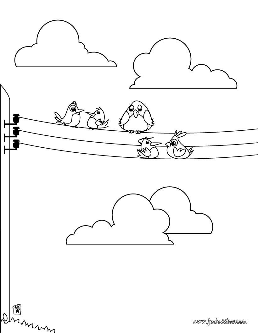 coloriages coloriage d 39 oiseaux sur des fils electriques. Black Bedroom Furniture Sets. Home Design Ideas