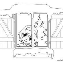 Coloriage d'Ana à la fenêtre - Coloriage - Coloriage FETES - Coloriage NOEL - Coloriage NOEL A IMPRIMER