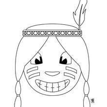 Coloriage d'une tête d'indienne