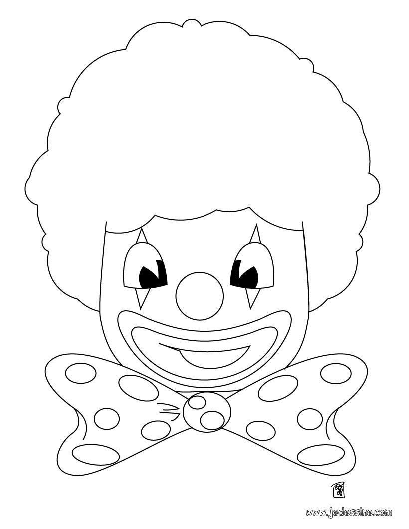 Coloriages coloriage d 39 une t te de clown - Tete de clown a imprimer ...
