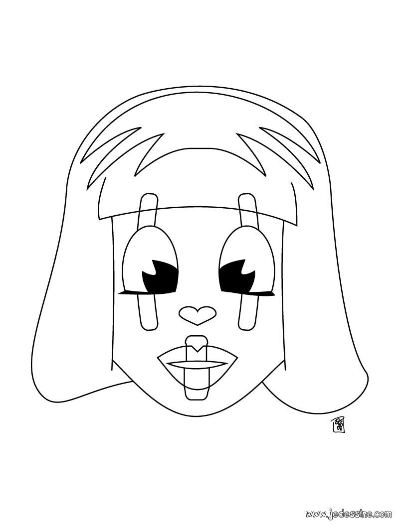 Coloriage d'une tête de poupée