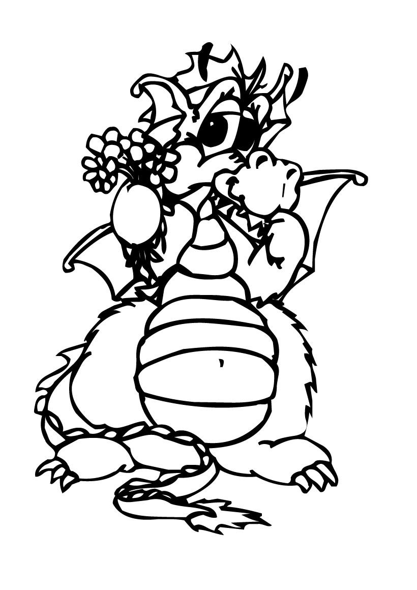 Coloriages coloriage d 39 un dragon offrant des fleurs fr - Dessin d un dragon ...