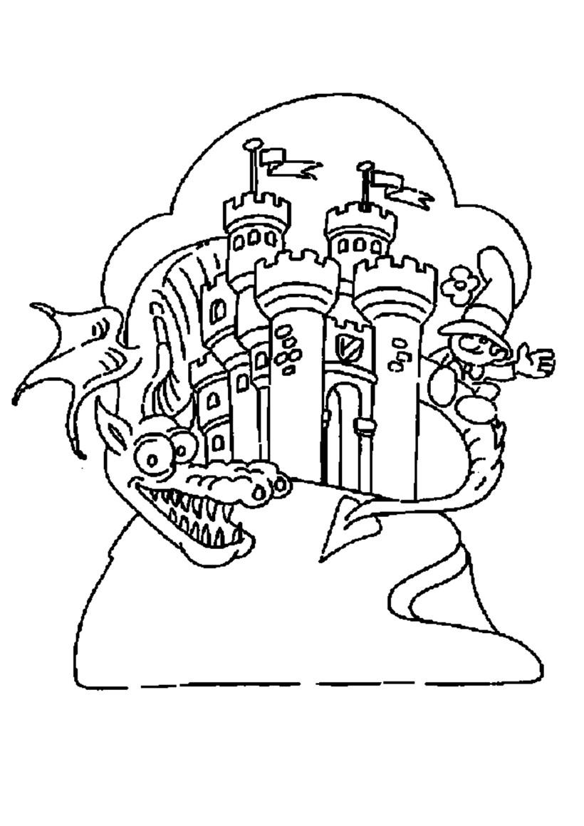 Coloriage d'un dragon gardien de château