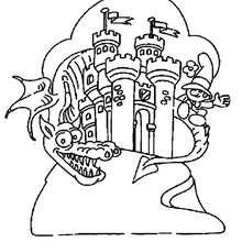Coloriage d'un dragon gardien de château - Coloriage - Coloriage FETES - Coloriage NOUVEL AN CHINOIS - Coloriage DRAGON CHINOIS A IMPRIMER
