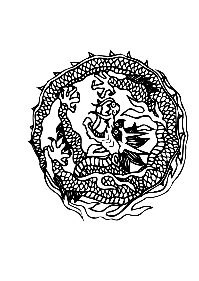 Coloriage de mandala de dragon - Mandala dragon ...