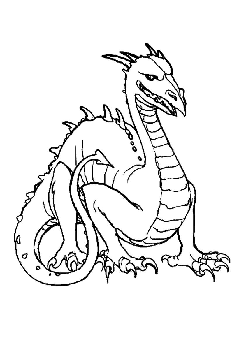 Coloriage d'un dragon à tête d'oiseau