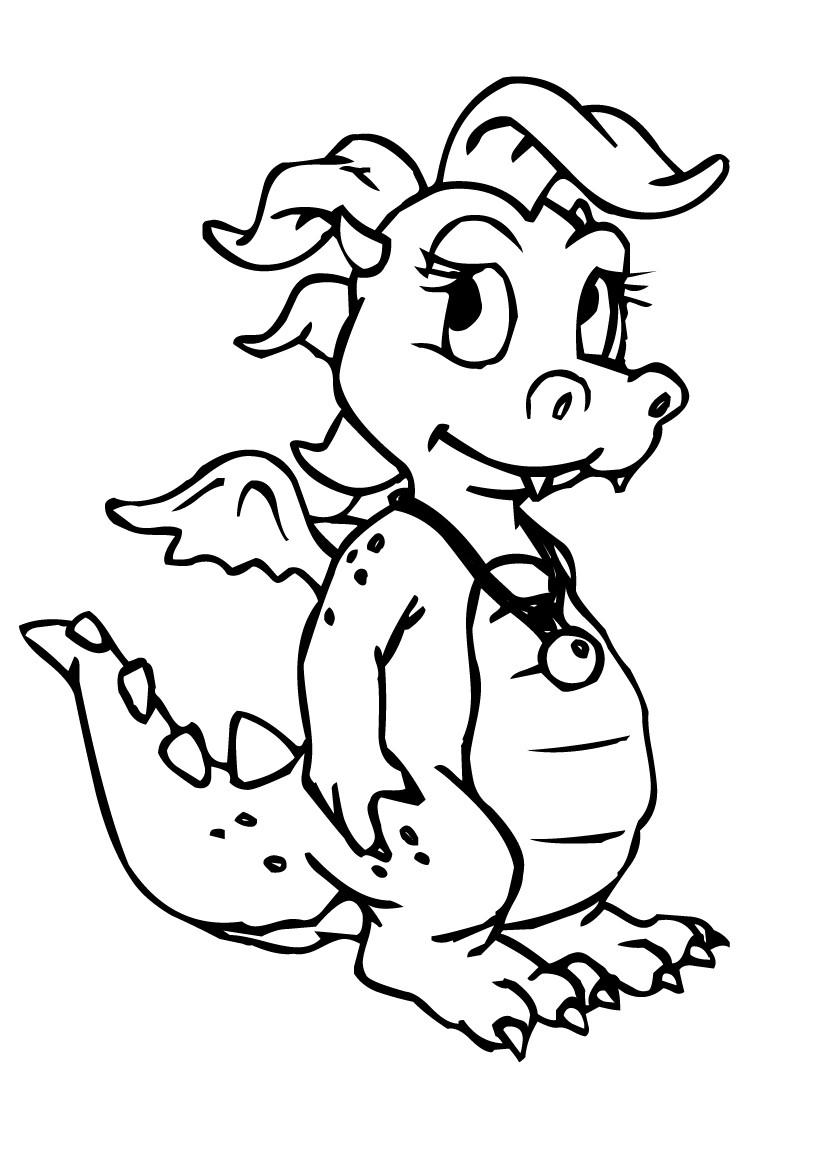 Coloriage d'un petit dragon