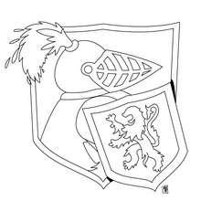 Coloriage d'un chevalier dans son armure