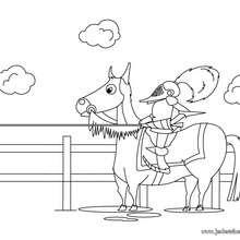 Coloriage d'un chevalier à cheval