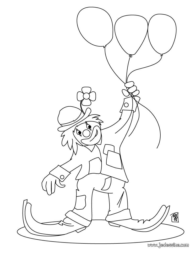 Coloriage d un clown avec des ballons