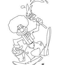 Coloriage d'un clown peintre - Coloriage - Coloriage GRATUIT - Coloriage GRATUIT CIRQUE - Coloriage CLOWN