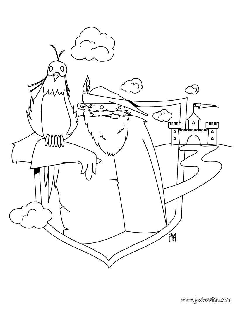 Coloriage de Merlin l'enchanteur