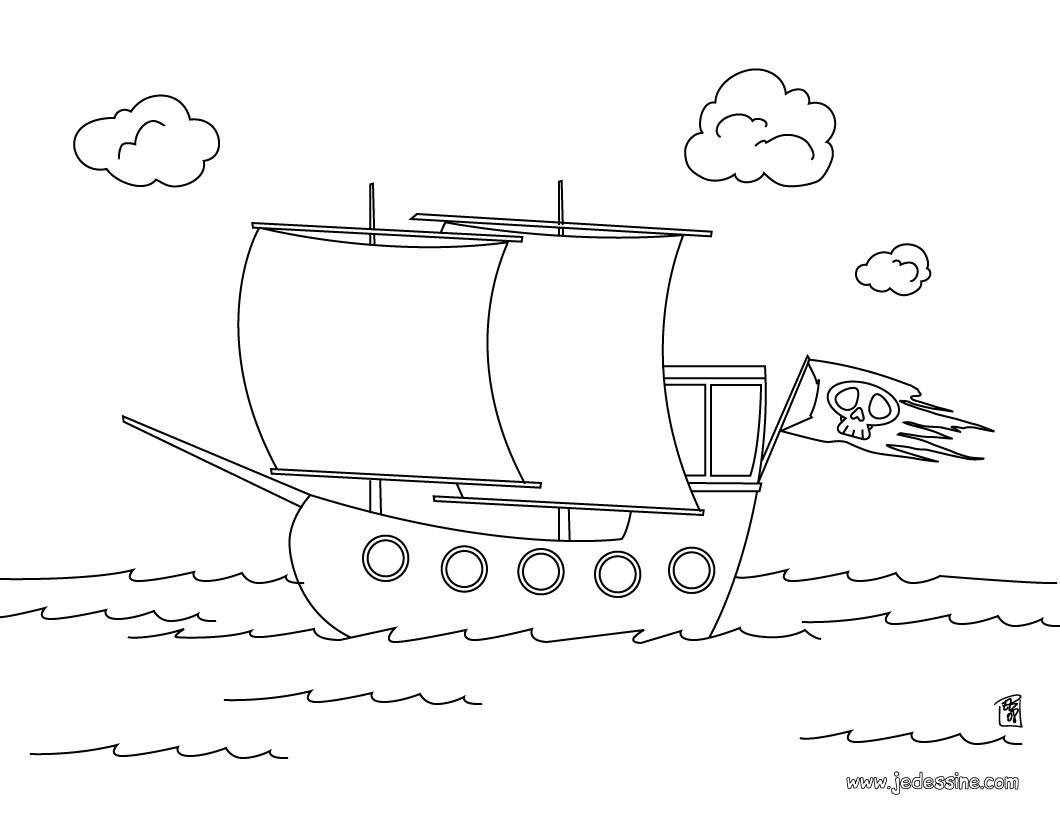Coloriage d'un navire de pirates