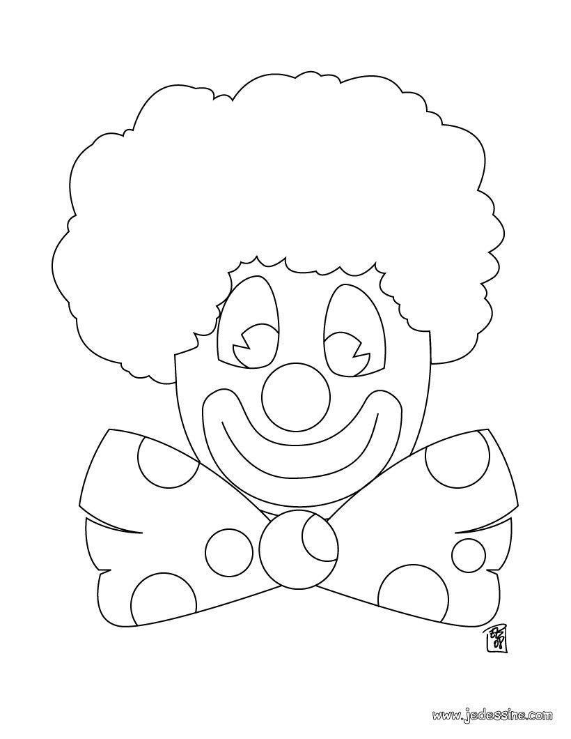 Coloriage d'un clown au noeud papillon