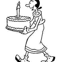 Coloriage d'Olive et du gâteau d'anniversaire