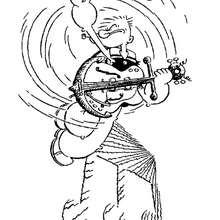Coloriage de Popeye jouant de la guitare
