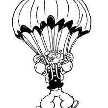 Coloriage de Popeye en parachute