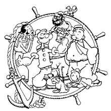 Coloriage de tous les personnages de Popeye
