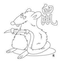 Coloriage du zodiaque chinois le Rat