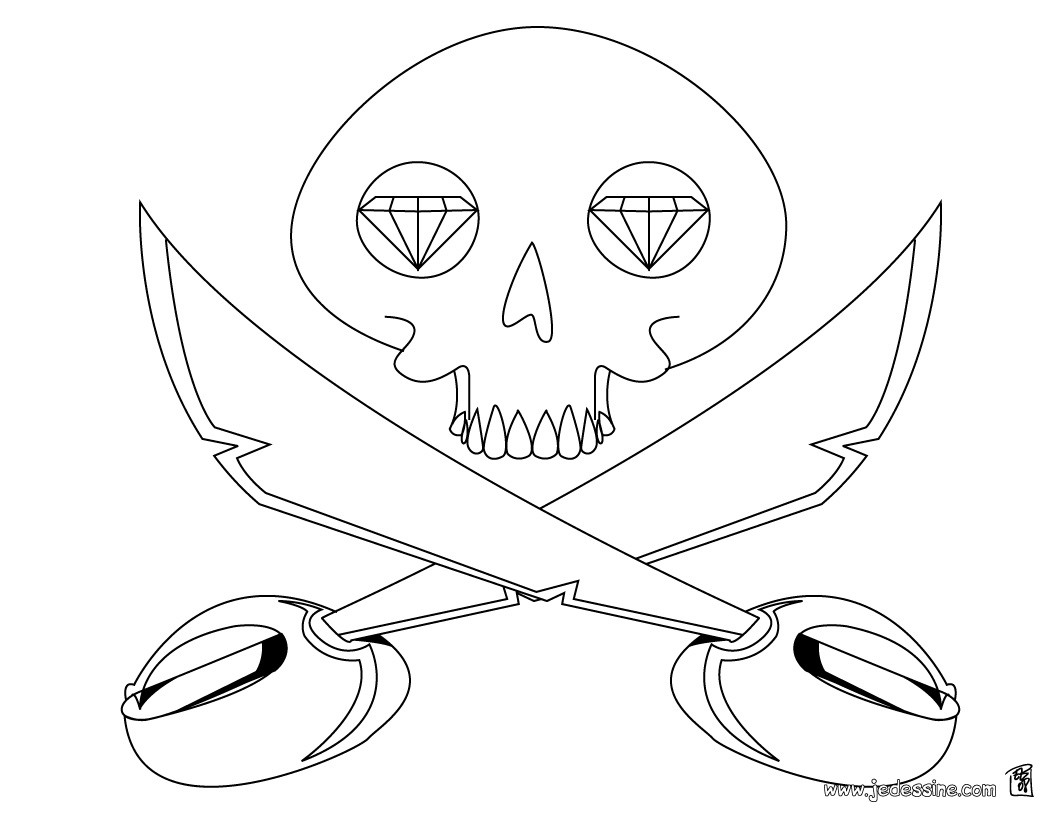 coloriage dune tte de mort - Coloriage De Pirate