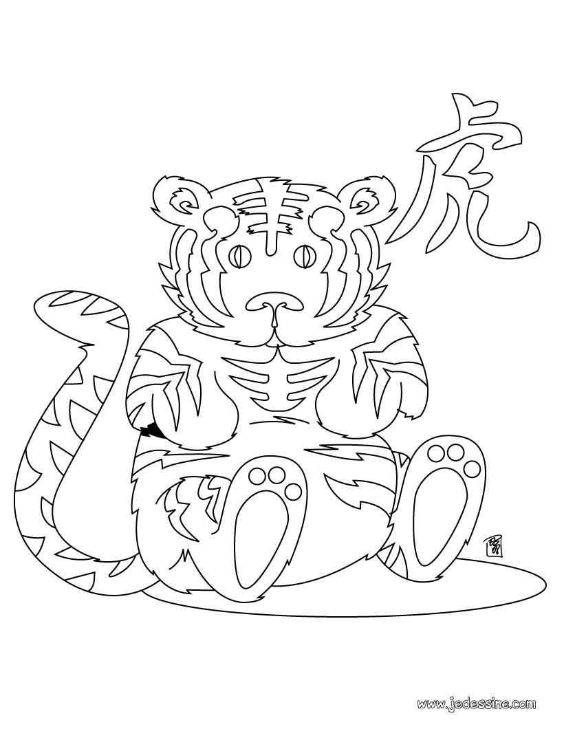 coloriages coloriage du zodiaque chinois le singe fr hellokids com