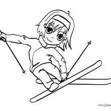 Coloriage d'Ana au ski