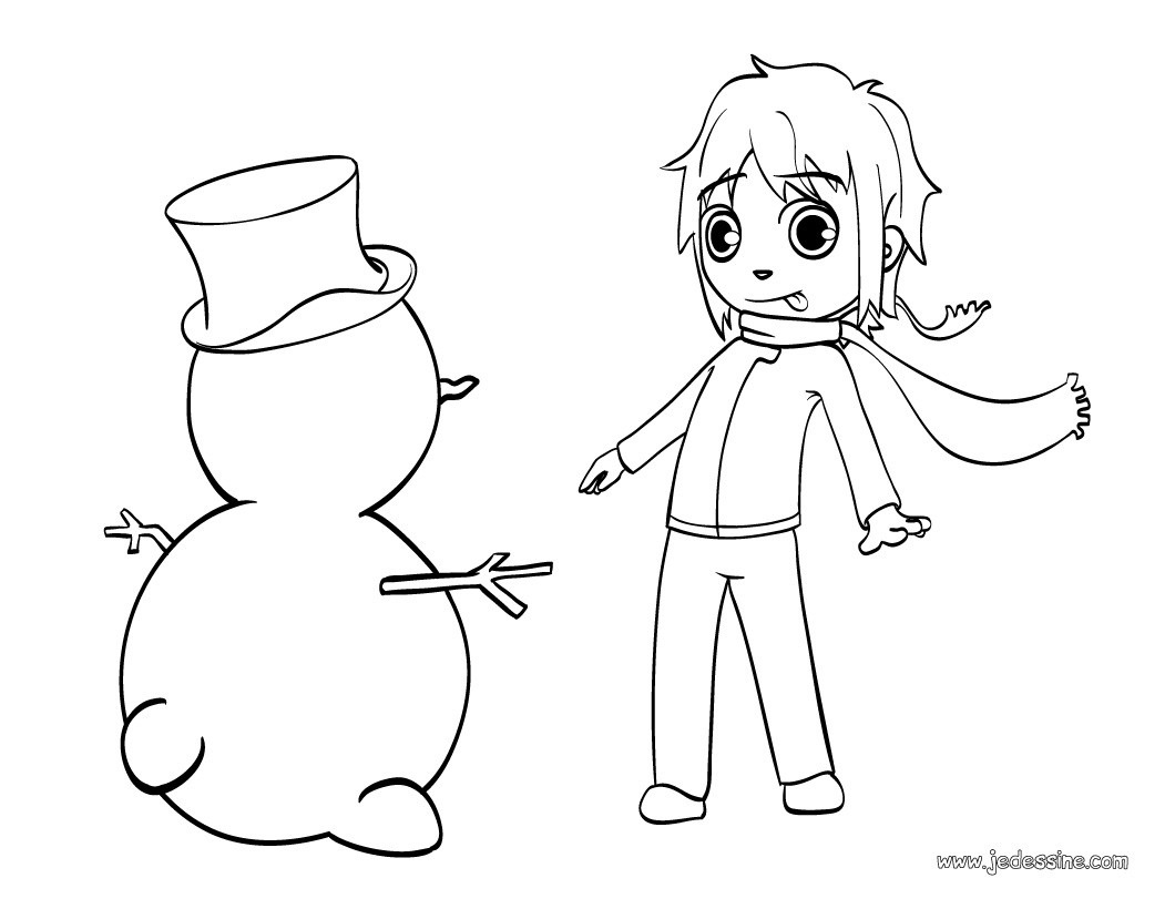 Coloriages coloriage du bonhomme de neige de mat fr - Coloriage de bonhomme ...