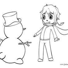 Coloriage du bonhomme de neige de Mat