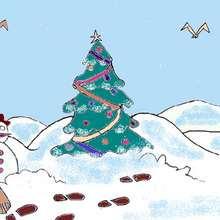 Dessin d'enfant : Décor de Noël
