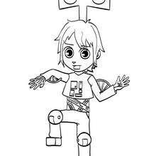 Coloriage carnaval de Mat et son déguisement de robot