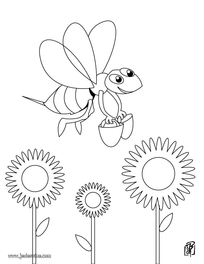 Coloriages abeille en plein travail - Coloriage travail ...