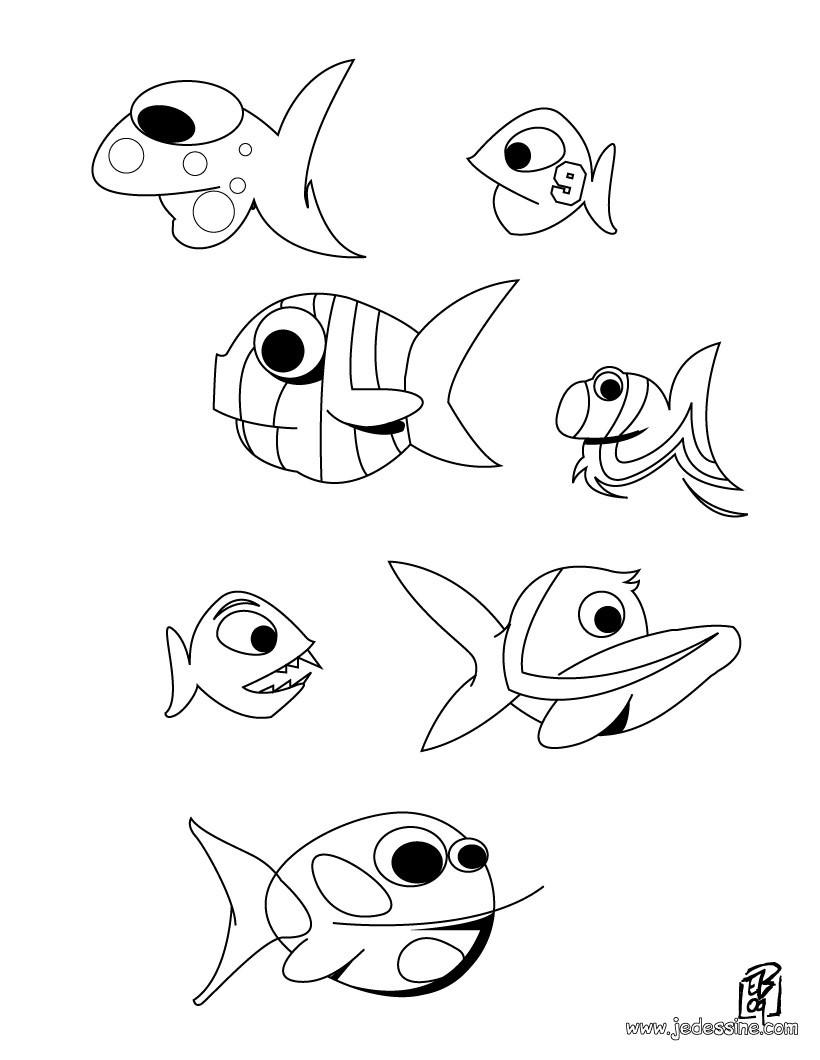Coloriage d'un banc de poissons