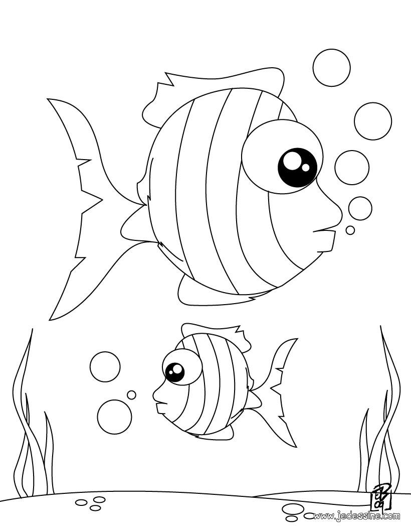 Coloriages coloriage de poissons tropicaux   fr.hellokids.com