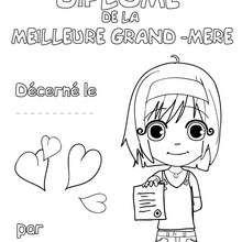 Coloriage de la meilleure des grands-mères (diplôme fille)