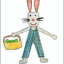 Le lapin de Pâques et son panier - Dessin - Apprendre à dessiner - Dessiner Pâques