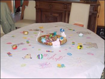 Fiche bricolage: la nappe de Pâques - Activités - BRICOLAGE PAQUES - La nappe décorée de Pâques.