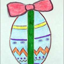 Un oeuf de Pâques décoré - Dessin - Apprendre à dessiner - Dessiner Pâques